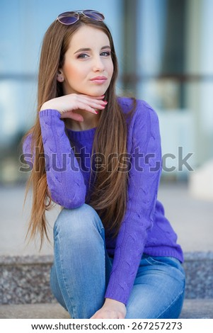 young beautiful brunette straight hair woman outdoor. Portrait Of Young Smiling Beautiful Woman. outdoor portrait - stock photo
