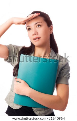 young beautiful brunette student having troubles isolated against white background - stock photo