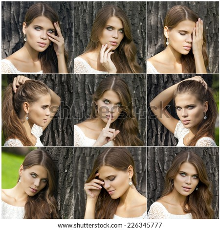 Young beautiful brunette woman has put forefinger to lips as sign of silence, against green summer garden - stock photo