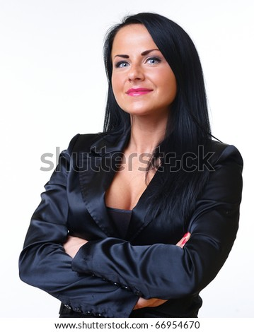 Young beautiful business woman in jacket on white - stock photo