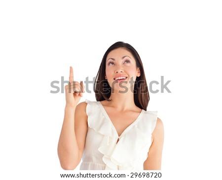 Young Beautiful Business woman pointing upwards - stock photo