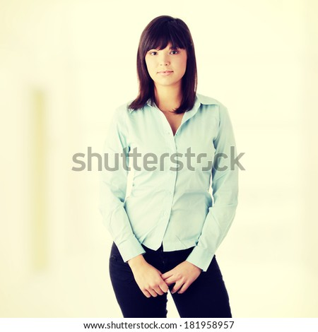 Young beautiful business woman portrait - stock photo