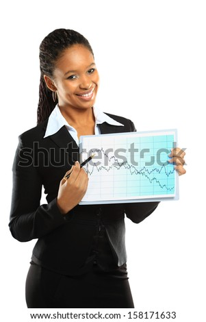 Young beautiful business woman showing the grouth and standing against white background  - stock photo