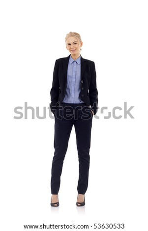 Young beautiful businesswoman isolated on a white background - stock photo