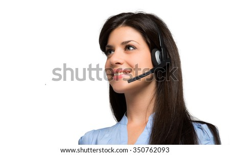 Young beautiful call center female operator portrait isolated on white - stock photo