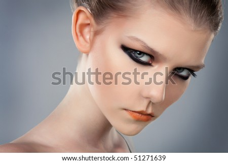 Young beautiful Caucasian blond woman close-up,Fashion Model. - stock photo