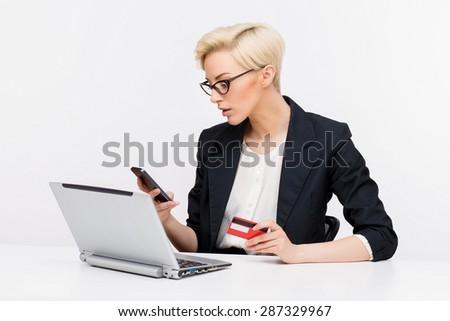 Young beautiful caucasian business woman wearing jacket studio portrait - stock photo