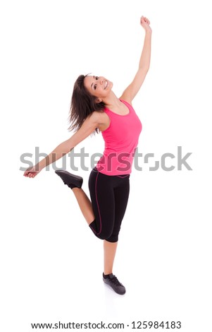 Young beautiful caucasian  fitness woman dancing,isolated on white background - stock photo