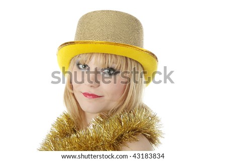 Young beautiful caucasian woman in black elegant party dress and gold hat - carnival concept - stock photo