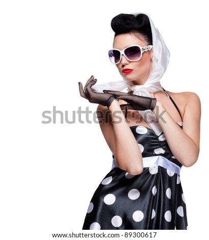 young beautiful caucasian woman posing, isolated over white, retro styling, space for copy - stock photo