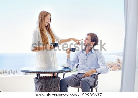 young beautiful couple in the morning - stock photo