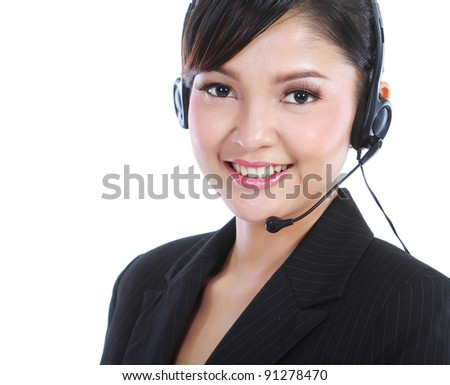 Young beautiful customer service operator with headset on white background. - stock photo
