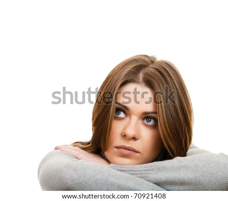 Young beautiful depression  woman/ Isolated - stock photo