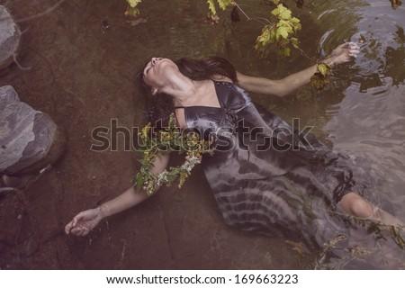 Young beautiful drown woman - stock photo