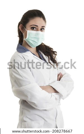 Young beautiful female doctor wearing a mask crossing arms isolated over white background - stock photo