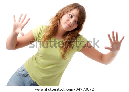 Young beautiful female teenager portrait isolated - stock photo