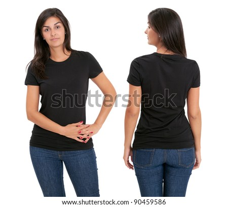 Young beautiful female with blank black shirt, front and back. Ready for your design or artwork. - stock photo