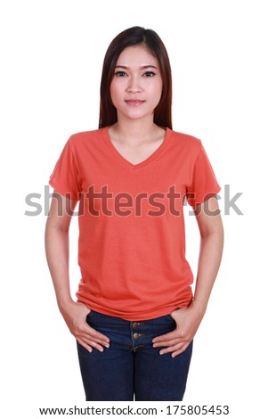 young beautiful female with blank red t-shirt isolated on white background - stock photo