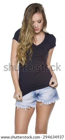 Young beautiful female with blank white shirt, front and back. Ready for your design or artwork. - stock photo