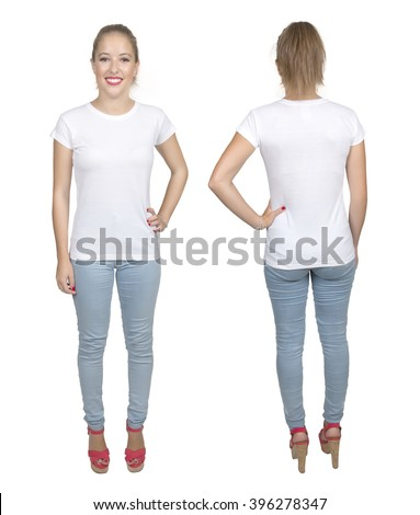 Young beautiful female with blank white shirt, front and back. Ready for your design or artwork.full body - stock photo