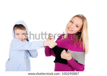 young beautiful girl and handsome little boy showing ok sign - stock photo