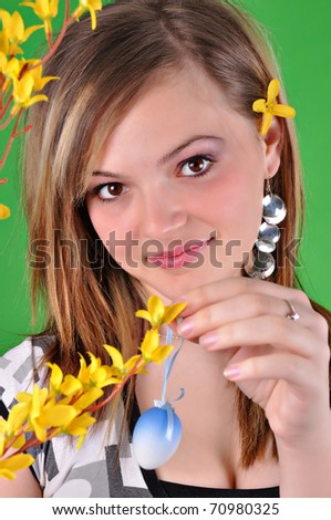 Young beautiful girl - Easter - stock photo