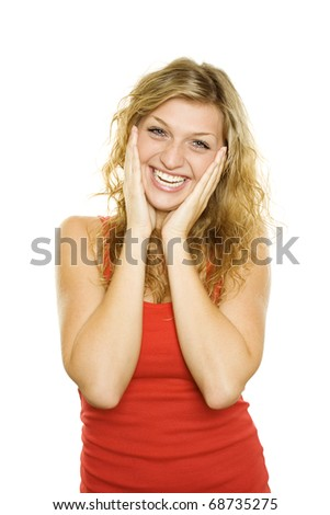 Young beautiful girl expresses emotions of joy. Lots of copyspace and room for text on this isolate - stock photo