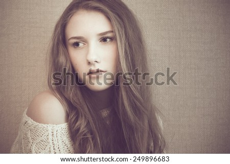 Young beautiful girl looking sad and pensive  - stock photo