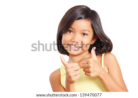 Young beautiful girl making two hands thumbs up. Isolated in white background. - stock photo