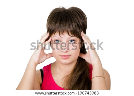 young beautiful girl suffering from a headache. isolation - stock photo
