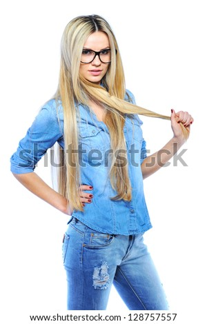 Young beautiful girl wearing glasses while posing isolated on white - stock photo