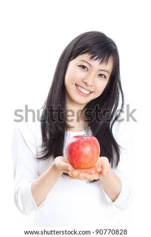 young beautiful girl with apple isolated on white background - stock photo