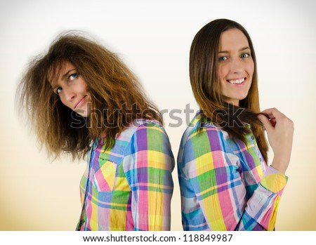 Young beautiful girls in a shirt with different hair - stock photo