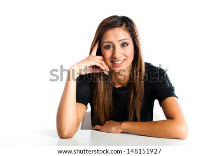 Young beautiful happy Asian Indian teenager - stock photo