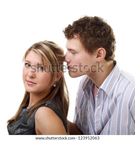 young beautiful happy couple in studio - stock photo