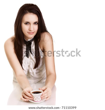 Young beautiful lady drinking coffee - stock photo