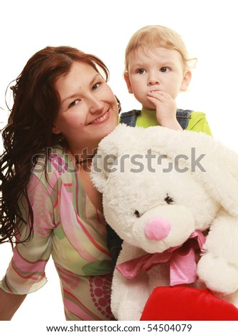 young beautiful mother with her little son - stock photo