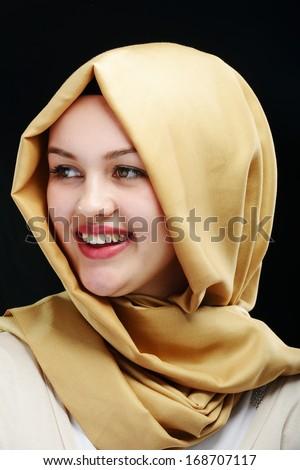 Young beautiful Muslim girl portrait - stock photo