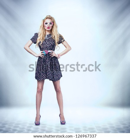 young beautiful pinup woman - stock photo