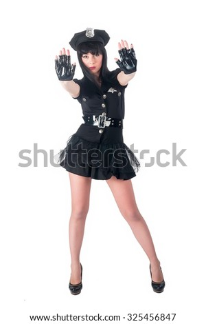 Young beautiful police woman with stop gesture. Isolated over white - stock photo