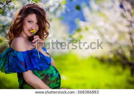 Young beautiful pregnant woman - stock photo