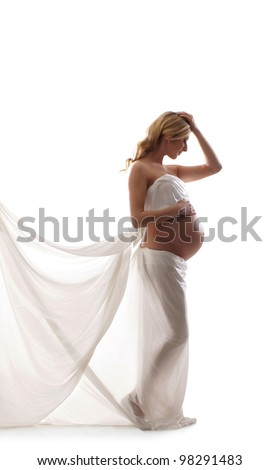 Young beautiful pregnant woman isolated on white - stock photo