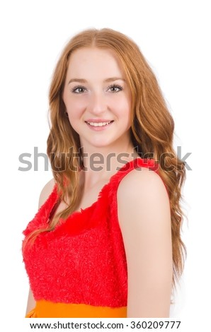 Young beautiful redhead girl isolated on white - stock photo