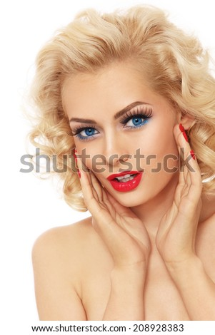 Young beautiful sexy blond retro girl with astonished expression over white background - stock photo