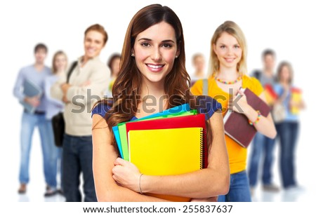 Young beautiful smiling students portrait. Education background. - stock photo