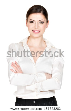 Young beautiful smiling woman in white office shirt - on white background - stock photo