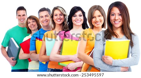 Young beautiful student woman portrait. Education background. - stock photo