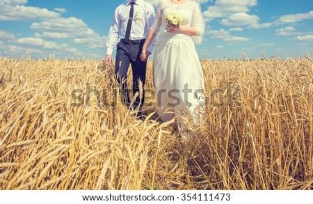 young beautiful wedding couple hugging in a field with grass eared. Retro colour - stock photo