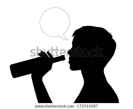 young beautiful woman drinking wine directly from the bottle, vacant text bubble next to her - stock photo