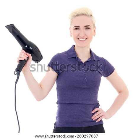 young beautiful woman hair stylist posing with hairdryer isolated on white background - stock photo